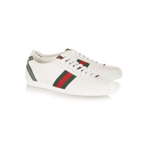 Gucci | New Ace watersnake-trimmed leather sneakers