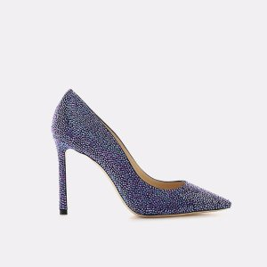 Romy 100 Coarse Glitter Fabric Pointy-Toe Pump Heels