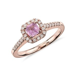 Asscher Cut Pink Sapphire and Diamond Halo Ring in 14k Rose Gold (4mm) | Blue Nile