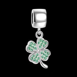 Green Four Leaf Flower - Good Luck - Charms