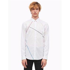 slim fit chambray linear block shirt | Calvin Klein