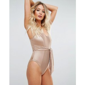ASOS FULLER BUST Matte Satin Shine Bow Belted Swimsuit DD-G