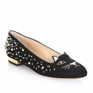 Studded Suede Kitty Flats