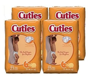 $6.21 Cuties Baby Diapers, Size 6, 23-Count, Pack of 4