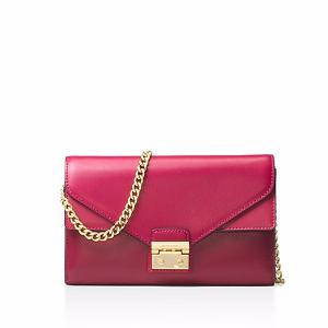 Sloan Envelope Color Block Large Leather Chain Wallet