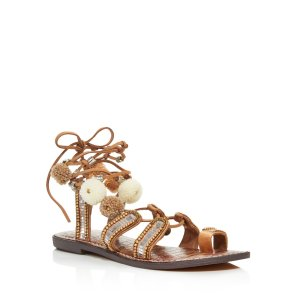 Sam Edelman Graciela Embellished Lace Up Sandals with Pom-Poms - 100% Exclusive | Bloomingdale's