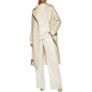 Striped wool and angora-blend felt coat
