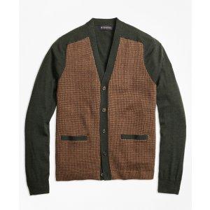 Merino Wool Gun Check V-Neck Cardigan - Brooks Brothers