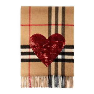 Burberry Sequin Heart Giant Check Cashmere Scarf | Bloomingdale's