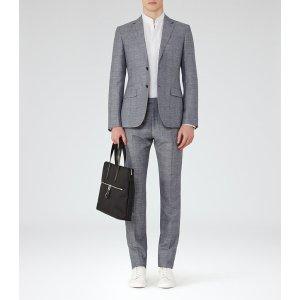 Buckingham Light Blue Wool And Linen Suit - REISS
