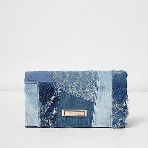 Blue patchwork denim foldout purse - purses - bags / purses - women