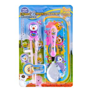 INP EDISON Pororo Petty Children's Training Right Handed Chopstick Spoon Utensil Set (with Pouch) 3Y+