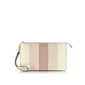 Michael Kors Large Daniela Striped Leather Zip Clutch at FORZIERI