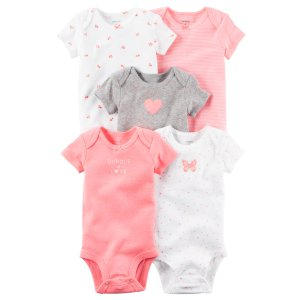 Baby Girl 5-Pack Short-Sleeve Bodysuits | Carters.com