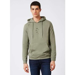 Khaki Ripped Classic Fit Hoodie - View All Sale - Sale - TOPMAN USA