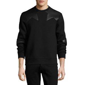Neil Barrett Neoprene Side-Zip Sweatshirt with Star Patches, Black