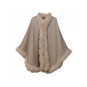 Pampeano Alpaca Fur Trimmed Cape - Dark Taupe