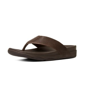 FitFlop Surfer Leather Flip Flops Chocolate Brown Official FitFlop Store