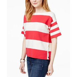 Tommy Hilfiger Cotton Short-Sleeve Striped Sweater, Only at Macy's - Sweaters - Women - Macy's