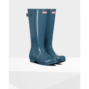 Womens Blue Adjustable Gloss Rain Boots | Official US Hunter Boots Store