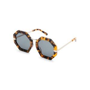 Tortoiseshell-Look Moon Disco Octagonal Sunglasses