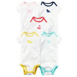 Baby Girl 5-Pack Short-Sleeve Bodysuits | Carters.com