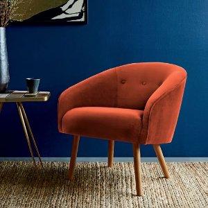 Eve Buttoned Chair - Poppy (Performance Velvet) | west elm