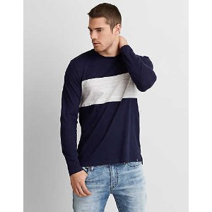 AEO Long Sleeve Chest Stripe T-Shirt, Navy | American Eagle Outfitters
