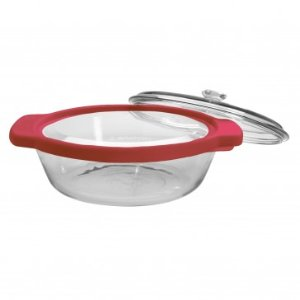 Anchor Hocking TrueFit 3pc Casserole, w/ Red & Glass Cover, 2qt - Glass Bakeware - Bakeware - Food Preparation