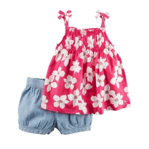 Baby Girl 2-Piece Floral Tie Tank & Chambray Bubble Short Set | Carters.com