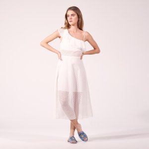 Asymmetric Dress In Textured Fabric - Dresses - Sandro-paris.com