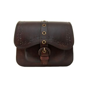 Embellished Brown Leather Handbag by Beara Beara