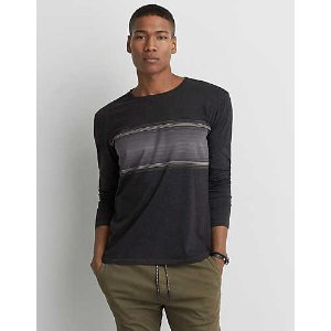AEO Long Sleeve Crew T-Shirt, Black | American Eagle Outfitters