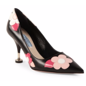 Prada - Flower Leather Point Toe Pumps - saks.com