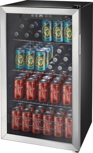 $174.99黒五价:Insignia 不锈钢小冰箱 可放115听饮料