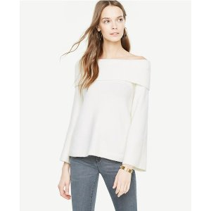 Off The Shoulder Bell Sleeve Sweater | Ann Taylor