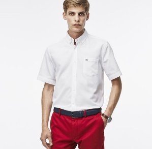 Lacoste Short Sleeve Mini Pique Woven Shirt