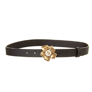Gucci Metal Flower Leather Belt