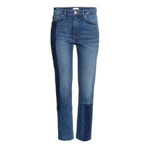 Slim Regular Patchwork Jeans | Dark denim blue | Women | H&M US