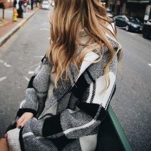 Matty M Long Sleeve Black & White Check Coatigan With Hood