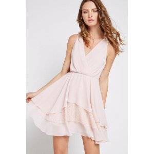 Tiered Lace Inset Surplice Dress