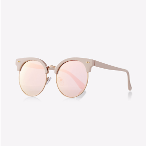 Pink Heavy Brow Mirror Lens Sunglasses