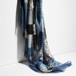 COACH Womens Denim Floral Patchwork Shawl
