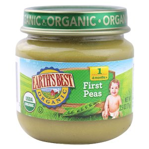 Earth's Best Organic Baby Food Stage 1 First Peas -- 2.5 oz - Vitacost