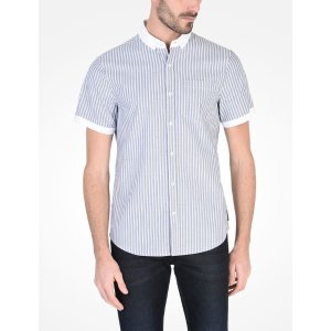 Armani Exchange CONTRAST COLLAR BUTTON DOWN SHIRT, Short Sleeve Shirt for Men - A|X Online Store