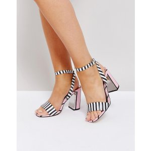 River Island Stripe Block Heel Barely There Sandals
