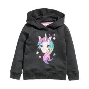 Printed Hooded Sweatshirt | Black/unicorn | Kids | H&M US
