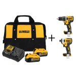 DEWALT 20-Volt MAX Lithium-Ion 5.0Ah Starter Kit with Bonus Bare Brushless Compact Drill and XR Impact Driver