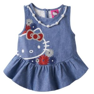 Girls 4-6x Hello Kitty® Embellished Chambray Tank Top