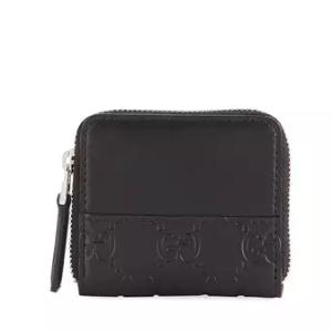Guccissima Leather Mini Wallet, Black